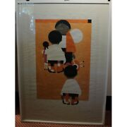 Vintage 1974 Swiss Original Characters Litho Paper Painting Signed W Zurbriggen