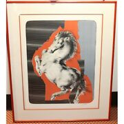 Vintage 1976 Original Horse Pitched Up Lithograph Paper Painting Signed 83/150