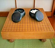 Japanese Vintage Wooden Board Go Playing Table With Bowls And Stones H.7.87inch