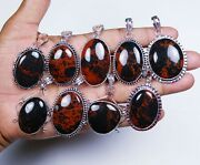 New Sale 200 Pcs Lot Natural Red Obsidian Gemstone Silver Plated Pendants
