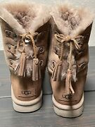 Uggs Chestnut Suede Back Lace Tassels Tie Ankle Short Boots Women's Size 8 39