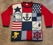 Vintage Peanuts Snoopy And Friends Sailor Anchor Knit Sweater 80's Medium