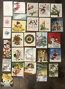 Lot Of 211 Vintage 1920and039s-80and039s Greeting Cards Unused Christmas Birthday