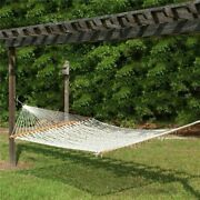 Portable White Hammock Travel Mesh Net Hanging Bed Outdoor Solid Wood Swing Camp