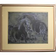 Vintage 20th Swiss Original Chavaux Lithograph Paper Painting Signed Erni 69/200