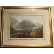 Antique 19th Original View Mont Engraving Paper Painting Signed Gabriel Ii Lory