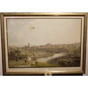 Antique 18th Original View Fribourg Engraving Paper Painting Signed Biedermann