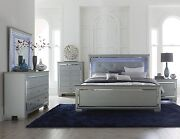 Glitzy 4 Pc Silver Gray Mirrored Led Lights King Bed N/s Dresser Bedroom Set