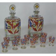 Vintage 20th Swiss Original Set Of Two Decanters And 11 Art Enamelled Glasses