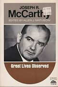 Joseph Mccarthy Great Lives Observed By Allen J. Matusow Excellent Condition