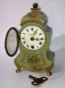 Vintage Thorens Swiss Wind Up Musical Clock Hand Painted Wood Wooden With Key