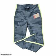 New Small Reebok Black Lichen Camouflage High-rise Workout Leggings Quick...