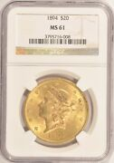 1894 20 Gold Liberty Double Eagle Coin Ngc Ms61 Pre-1933 Gold