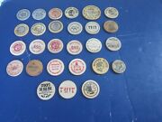 27 Vintage Genuine Wooden Nickels Bsa, Jaffa, Banks, Coin Shows, Cities And Towns