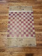 Old Hand Carved/painted Checkers 1800s Board Game Folk Art Primitive