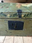 Early Large Antique Wood Primitive Painted Folk Art Box Trunk Chest