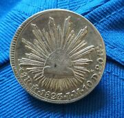 Mexico 1823 8 Reales Hookneck Mo Jm Silver Mexican Coin
