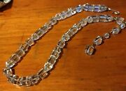 Vintage Antique Art Deco Cut Crystal Cube Bead Sterling Silver 16 Long Necklace