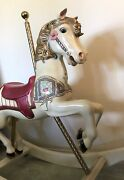 Vintage Carousel Prancer Rocking Horse Hand Carved And Painted Off An Old Carousel