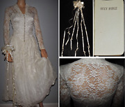 Antique Ivory Wedding Dress Mixed Lace Short Bridal Gown 1920s Oxford Bible