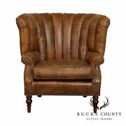 Harden Embossed Leather Channel Back Wing Chair
