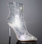 Jlo Alluria Jennifer Lopez 7 Crystal Clear Sold Out Htf Boots Heel Stiletto