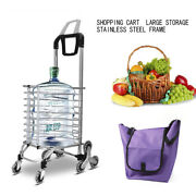 Folding Shopping Cart Jumbo Basket Grocery Laundry Travel With 6-8 Stair Wheels