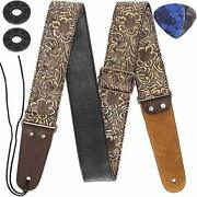 Guitar Strap Stamped Leather Guitar Strap Pu Leather Western Vintage 60and039s Ret...