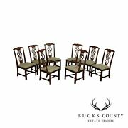 S. Bent And Bros Chippendale Style Cherry Set 8 Dining Chairs