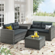 4pcs Outdoor Patio Furniture Sets Sectional Sofa Rattan Chair With Storage Box