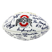 Ohio State Buckeyes 1968 Team Autographed Signed White Panel Logo Football - Cer