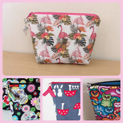 Zip Pouch Makeup Bag 7 X 5 In A Choice Of Cotton Fabrics