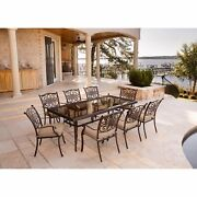 New 9 Piece Patio Dining Set Outdoor Steel And Glass Table And 8 Chairs