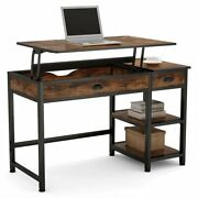 Lift Top Computer Desk Study Table With Drawers And Shelves Storage Space Saver