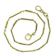 Antique 14k Yellow Gold Hand Etched Bar And Twisted Wire Link Pocket Watch Chain