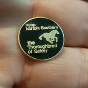Vintage Keep Norfolk Southern The Thoroughbred Of Safety Employee Button Badge