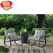2-piece Outdoor Rocking Chair Set With Cushion Steel Frame Patio Furniture Grey