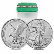 Roll Of 20 - 2021 1 Oz Silver American Eagle 1 Coin Bu Type 2 Lot Tube Of 20