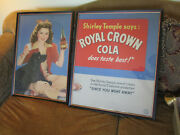 Vintage 1944 Shirley Temple Royal Crown Cola Soda Set Of 2 Movie Posters Framed