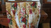 Custom Lined Weighted Yellow Red Floral Chintz Long Pinch Pleat Drapes Curtains