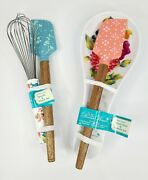 Pioneer Woman 2 Spatula Whisk Spoon Rest 4 Piece Set Blooming Bouquet Pattern