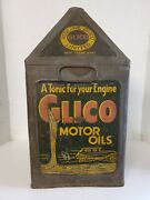 Vintage Rare Antique Oil Can Redline Glico A Tonic For Your Engine 5 Gallon