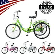26 7 Speed Adult Trike Tricycle 3-wheel Bike With Basket Backrest For Shopping