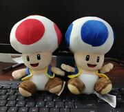 2pc Super Mario Bros Mushroom Toad Red / Blue Plush Toy Doll Birthday Party Gift