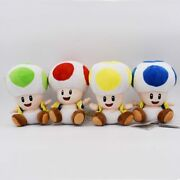 4pc Super Mario Plush Toy Toad Green Yellow Blue Red Open Mushroom Doll Gift Set