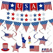 37pcs 4th Of July Banner Decorations Patriotic Party Supplies For The Home