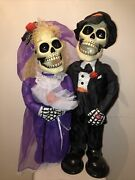 Ghoul Newly Deads Bride And Groom Skeleton Animated Halloween Sings I Got You Babe