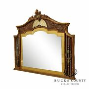 1920and039s Art Deco Period Ornate Yellow Glass Gilt Over Mantle Mirror