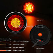 Round Truckand Rv Trailer Tail Lights Led Stop Brake Turn Signal Light Amber+red