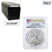 Lot Of 20 - 2021 1 Oz Silver American Eagle Type 2 Pcgs Ms 69 Fs Flag Label